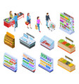 people isometric store shopping grocery market vector image vector image