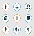 person icons set with rejoicing male gentleman vector image