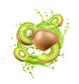 realistic fresh kiwi exotic fruit flow vector image vector image