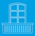 retro window and balcony icon outline style vector image vector image