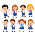 school children cartoon vector image vector image