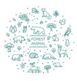 set linear forest animals vector image