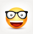 smileyemoticon with glasses yellow face with vector image vector image