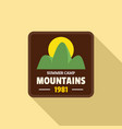 summer camp mountains logo flat style vector image