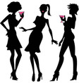 three party girls silhouettes vector image vector image