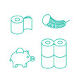 toilet paper rol set icon economical two-layered vector image vector image