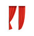 two red silk or velvet theatrical curtains for vector image vector image