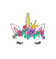 unicorn cute isolated on white vector image vector image