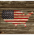 usa flag map on old rustic timber wall vector image