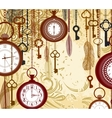 Vintage grungy background with keys and watches vector image vector image