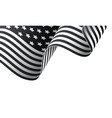waving black and white american flag on white vector image