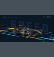 web banner with super car sport bolide black auto vector image vector image