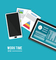 work time design office icon colorful vector image vector image