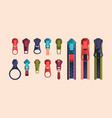 zipper and sliders puller set metal clasp and vector image vector image
