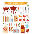 barbecue and grill icons set flat or cartoon vector image