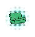 Green sofa comics icon vector image