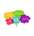 Text colorful speech bubble icons glitch style vector image