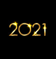 2021 happy new year numbers gold shiny texture vector image vector image