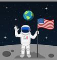 astronaut planting usa flag on moon