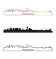 asuncion skyline linear style with rainbow