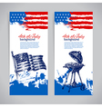 banners 4th july backgrounds with american flag vector image