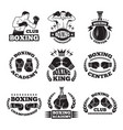 boxing club or mma fighting labels monochrome vector image vector image