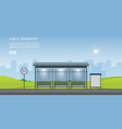 bus stop with city view background and empty vector image vector image
