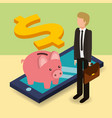 businessman and piggy bank with cellphone dollar vector image