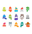 cartoon color winter hats and scarves headwear vector image vector image