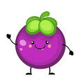 cartoon mangosteen fruit vector image