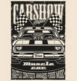 custom cars motor show vintage monochrome poster vector image