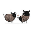 cute couple of pigs symbol of 2019 for your vector image vector image