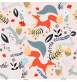 cute fox and rabbit seamless pattern vector image