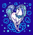 cute rainbow unicorn among the clouds stars rose vector image vector image