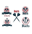 Darts icons emblems or symbols vector image vector image