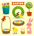 Easter cartoon isolated object icon set easter vector image vector image