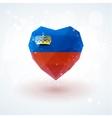 Flag of Liechtenstein in shape diamond glass heart vector image vector image