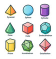 flat line isometric shapes vector image vector image