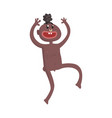 funny naked black skinned man aborigine dancing vector image