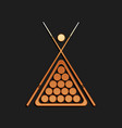 gold billiard cue and balls in a rack triangle vector image vector image