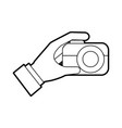 hand holding photo camera push button vector image
