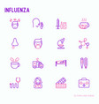 influenza thin line icons set vector image