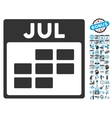 July Calendar Page Flat Icon With Bonus vector image vector image