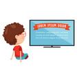 kid watching tv vector image
