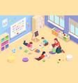 kindergarten classroom with children playing vector image