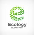 Letter E eco green leaf logo icon design template vector image