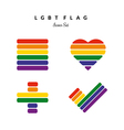 LGBT Pride Flag Rainbow Icons Set vector image