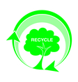 logo recycle tree icons vector image