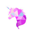 magic unicorn silhouette collection in low poly vector image vector image