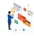 Man pays bills through mobile bank app on